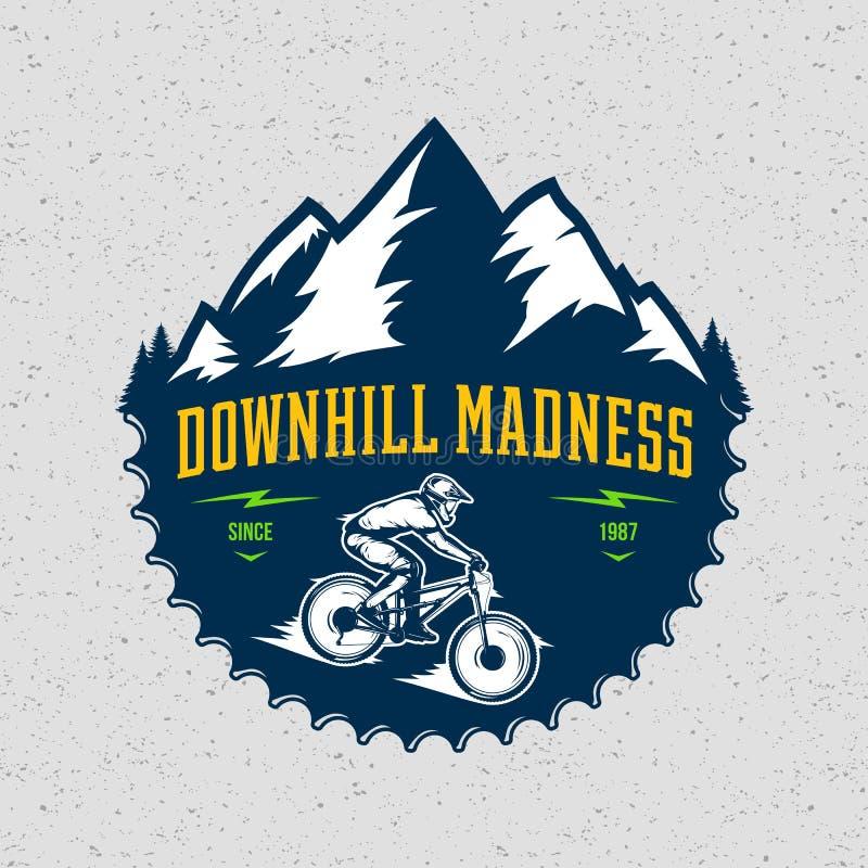 Vector downhill mountain biking badge design vector illustration