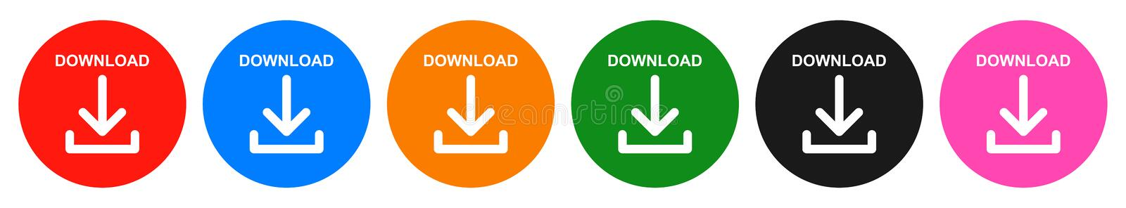 Vector download round button six color icon royalty free illustration
