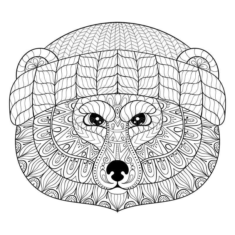 Vector draag gezicht in zentangle, krabbelstijl Hand getrokken Wilde ani royalty-vrije illustratie