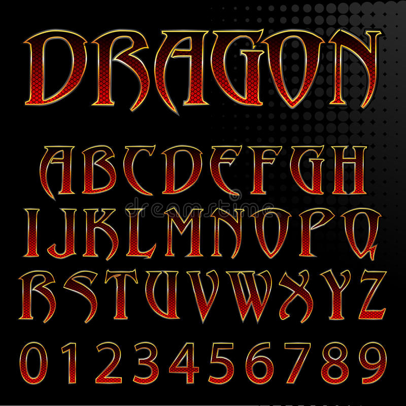 Download Vector dragon style font stock vector. Image of letters - 35693206