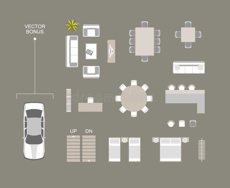 Vector Draufsicht der Möbelikonen mit Bett, Sofa, Speisetisch, Stühle, Stange, Bücherregale, Aufhänger Vektorautodachansicht-Präm lizenzfreie abbildung