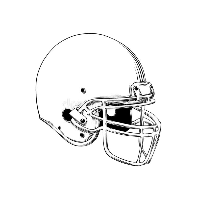 Vector drawing of american football helmet in black color, isolated on white background. Graphic illustration, hand vector illustration