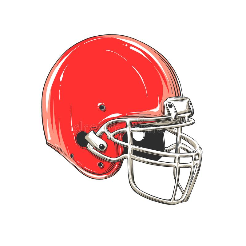 Vector drawing of american football helmet in color, isolated on white background. Graphic illustration, hand drawing. Drawing for posters, decoration and vector illustration