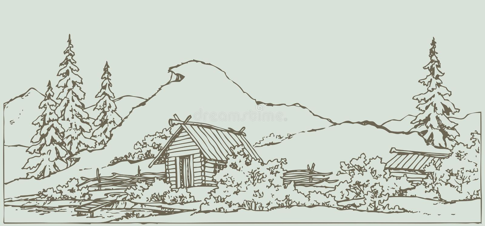 Vector drawing. Ancient rural landscape. Vector freehand ink scene in style of contour book engraving. Medieval rural landscape with wooden hut under high grassy royalty free illustration