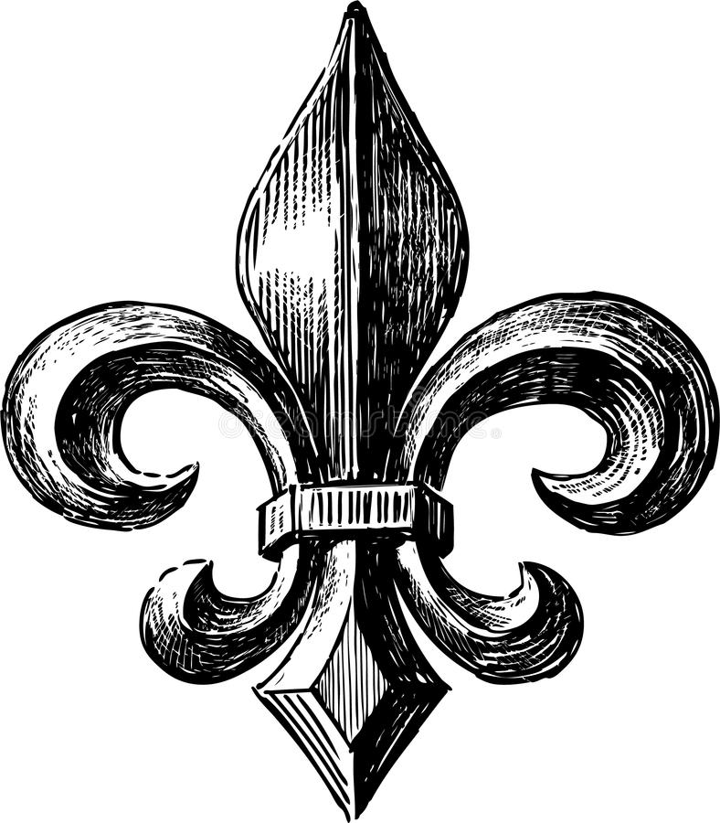 Fleur De Lys. Vector drawing of the ancient symbol of the French lily