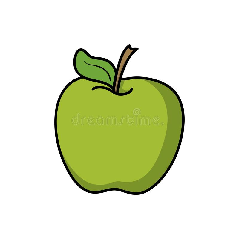Apple. Food icon. Doodle cartoon vector illustration. Vector drawing of Apple. Icon belonging to collection of icons related to food. Doodle cartoon vector stock illustration