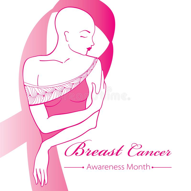 Vector drawing bald woman after chemotherapy with pink ribbon isolated on white background. Breast Cancer Awareness Month symbol. royalty free illustration