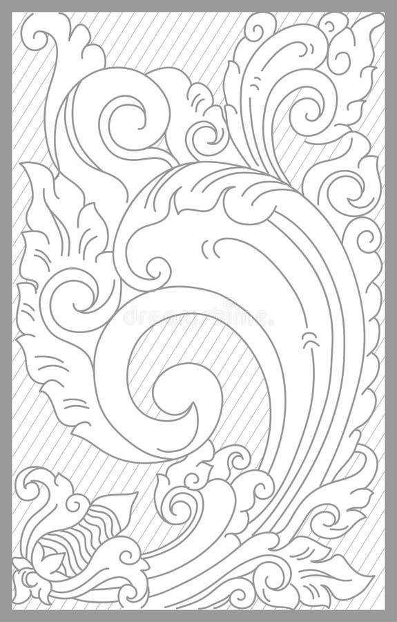 Bali Floral Set. Vector drawing of bali traditional floral set vector illustration