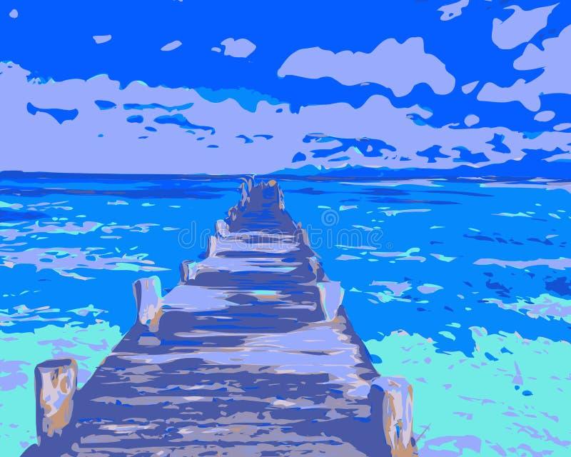 Vector drawing blue sea, ocean and bridge. royalty free illustration