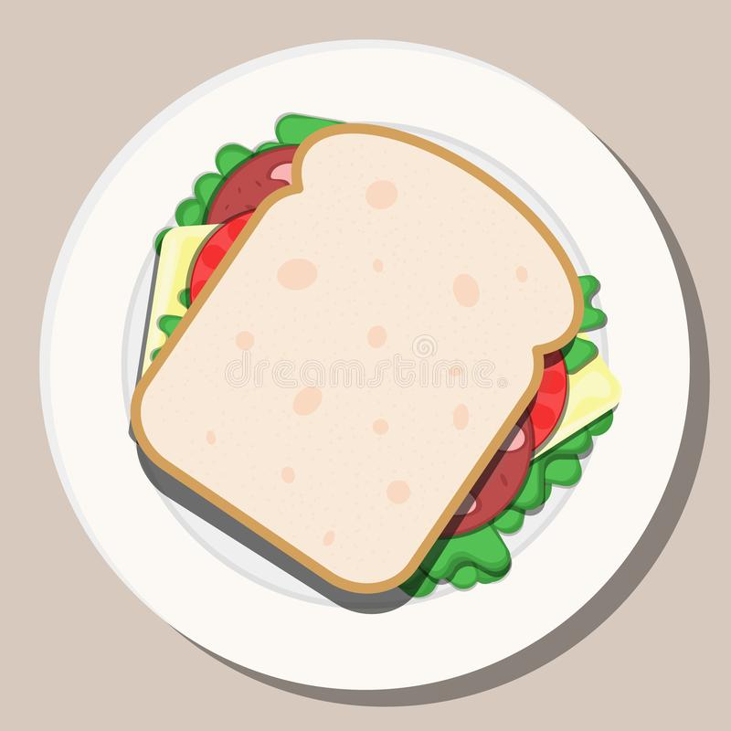 Vector drawing. Breakfast concept. Appetizing delicious sandwich. vector illustration
