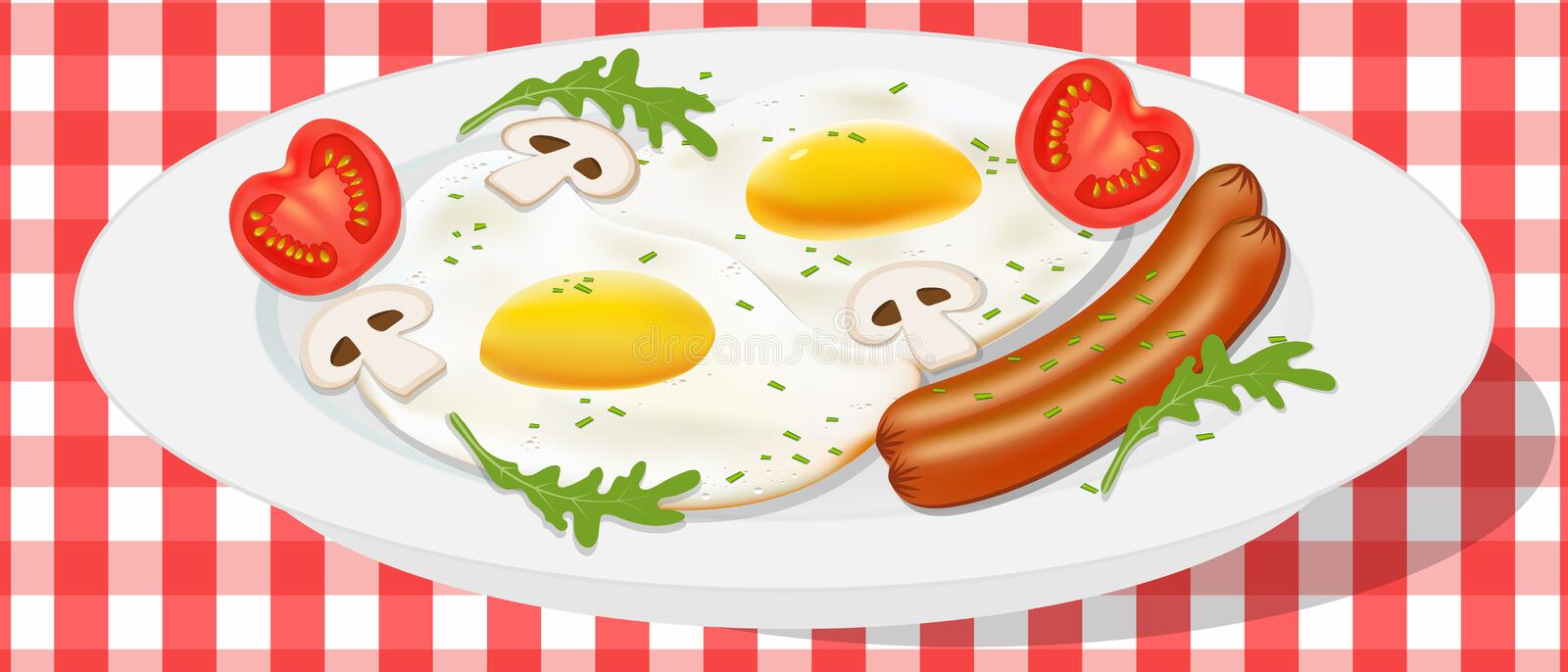 Vector drawing. Breakfast concept, fried egg with sausage, arugula and vegetables. vector illustration