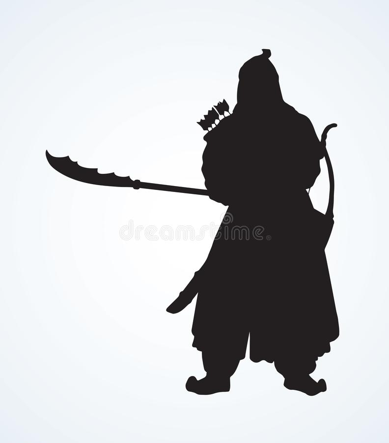 Vector drawing of Chinese warrior stock illustration