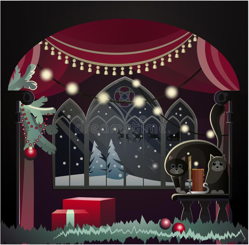 Vector drawing christmas in the old castle stock photo