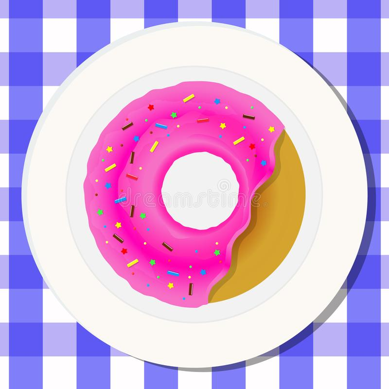 Vector drawing. Concept nutrition. Donut with bright pink glaze and candys. stock illustration