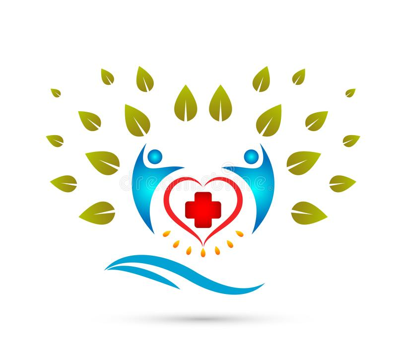 Creative Team People Family tree with water wave, medical sign happy people together concept logo. royalty free illustration