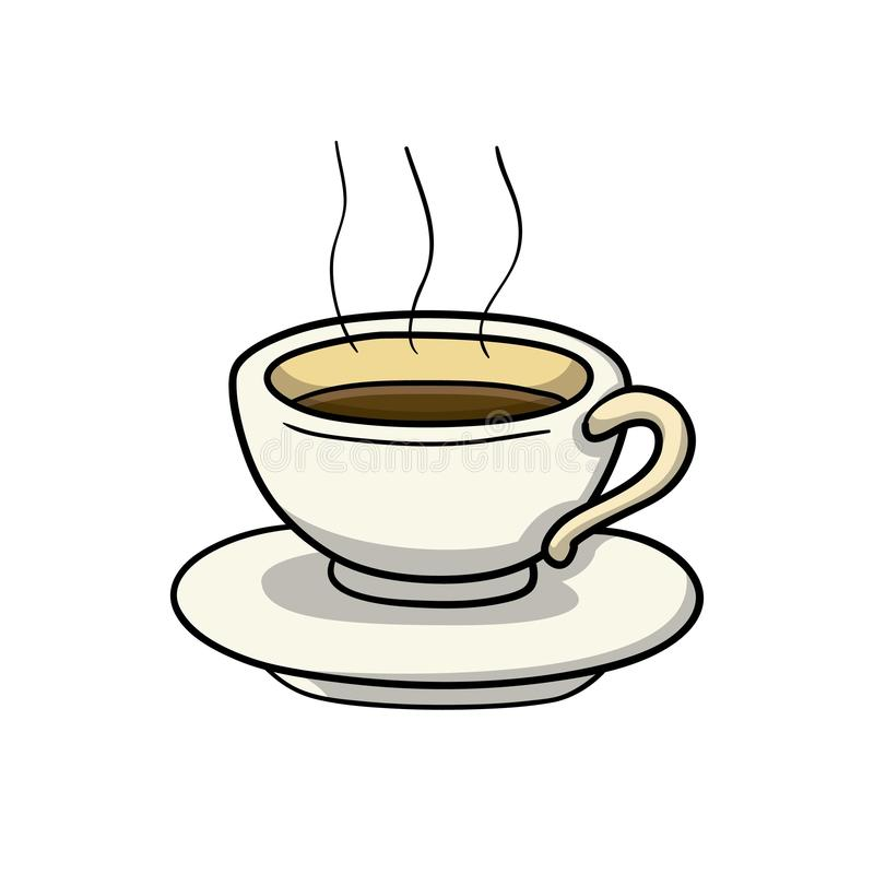 Cup of coffee. Drink icon. Doodle cartoon vector illustration. Vector drawing of Cup of coffee. Icon belonging to collection of icons related to drink. Doodle stock illustration