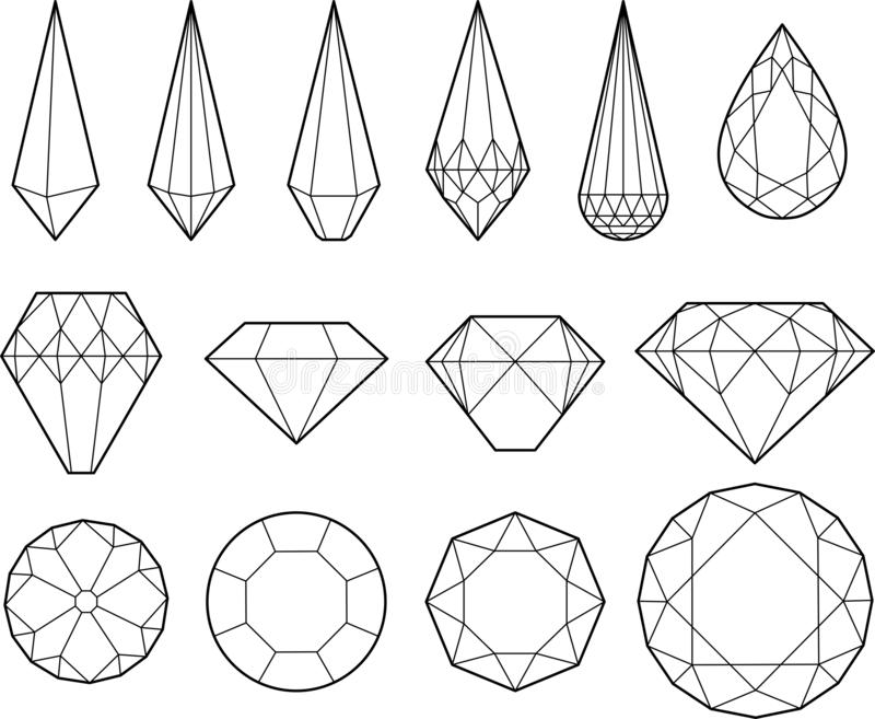 Vector drawing of diamonds, crystals and precious stones. Black and white vector drawing of diamonds, crystals and precious stones. 14 different tipes of stock illustration
