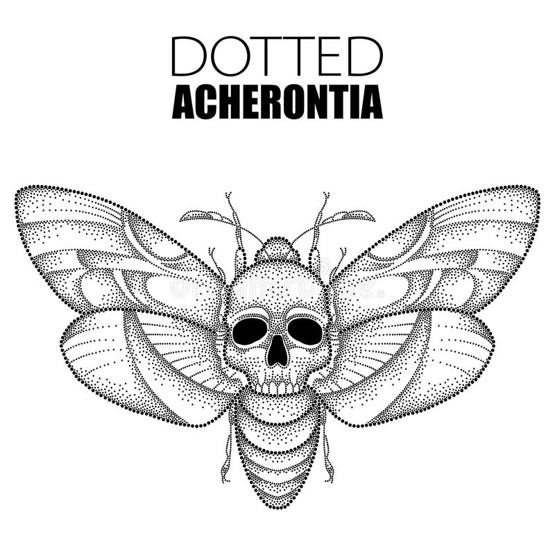 Vector drawing of dotted black Death`s head hawk moth or Acherontia atropos isolated on white background. vector illustration