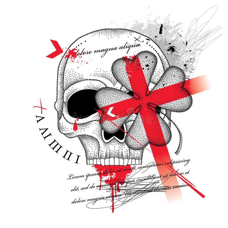 Vector drawing dotted skull, abstract cross and lucky four leaf clover in red and black isolated on white background. royalty free illustration