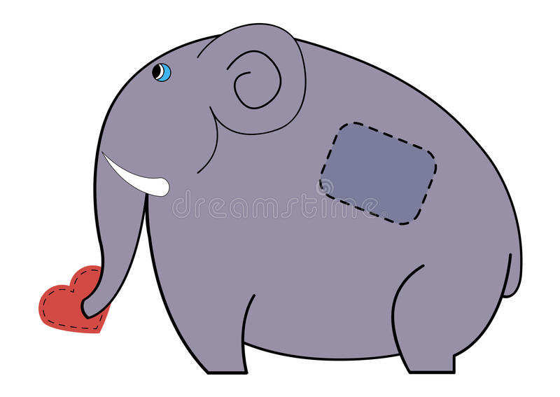 Cute Elephant Carrying In His Trunk Heart Stock Vector