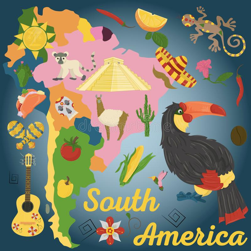 Drawing_1_made in flat style on the theme of South America, animals, buildings, plants, holidays, continent map, food design elem. Vector drawing in flat style royalty free illustration