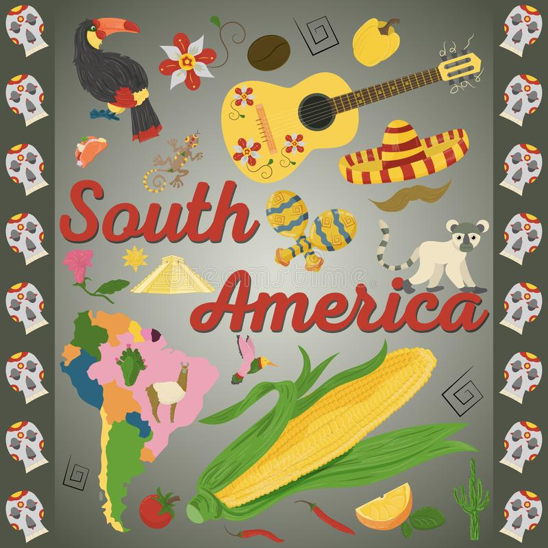 Drawing_5_made in flat style on the theme of South America, animals, buildings, plants, holidays, continent map, food design elem. Vector drawing in flat style vector illustration