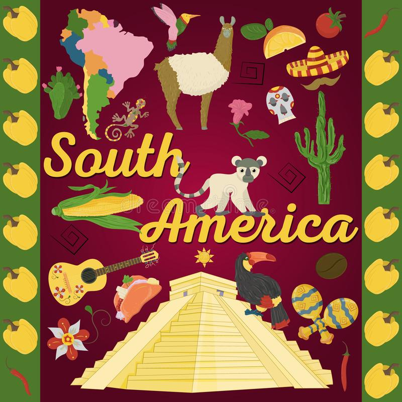 Drawing_4_made in flat style on the theme of South America, animals, buildings, plants, holidays, continent map, food design elem. Vector drawing in flat style royalty free illustration