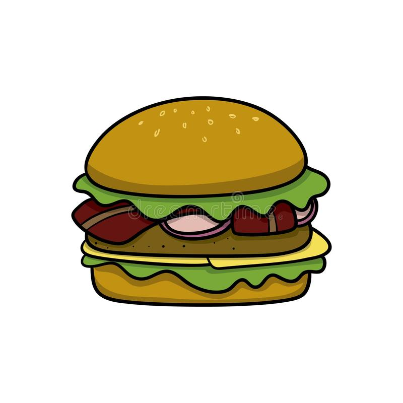 Hamburger. Food icon. Doodle cartoon vector illustration. Vector drawing of Hamburger. Icon belonging to collection of icons related to food. Doodle cartoon vector illustration