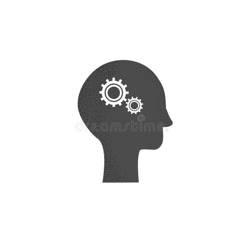 Vector drawing of the head with gears. Black icon of head silhouette on a white background vector illustration