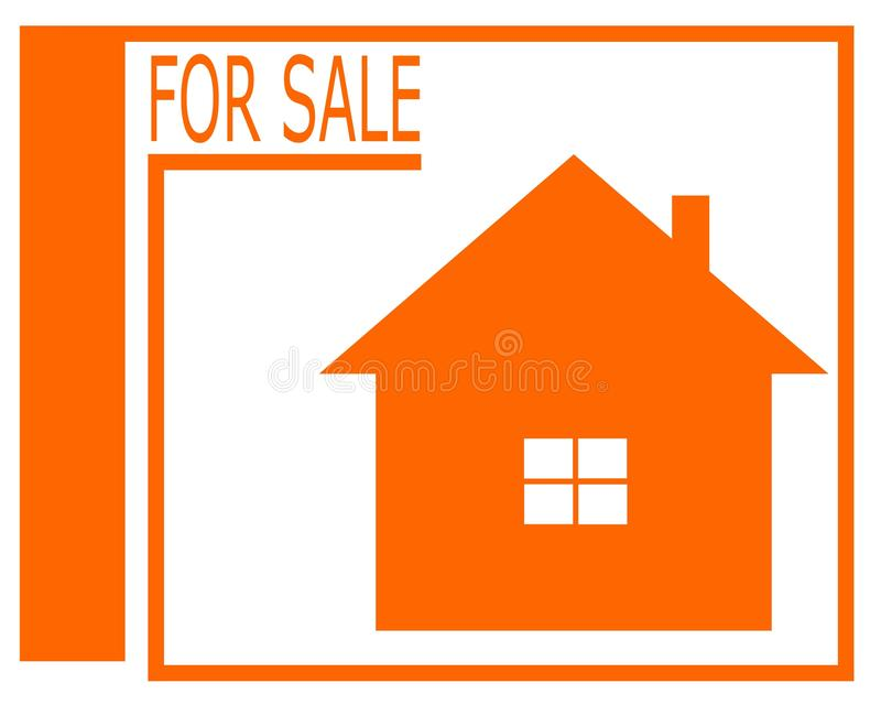 Vector drawing of a house for sale logo. stock illustration