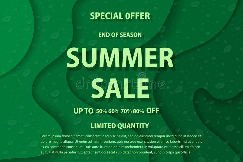 Vector drawing, image of bright advertising poster, summer sale vector illustration