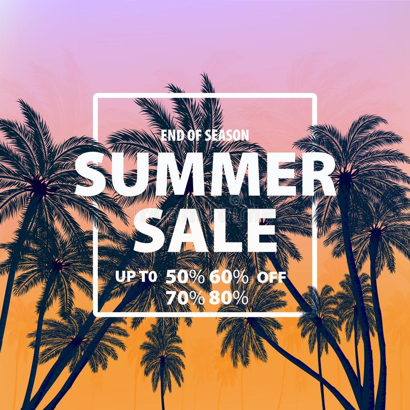 Vector drawing, image of bright advertising poster on a tropical colored background. Vector illustration. End of season summer sale. Banner with tropical stock images