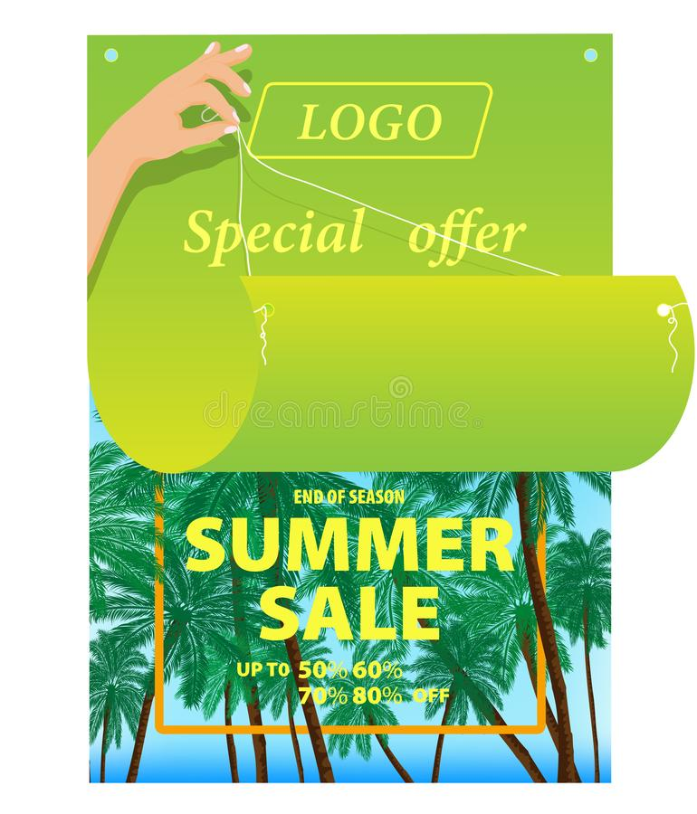 Vector drawing, image of bright advertising poster on a tropical colored background stock illustration