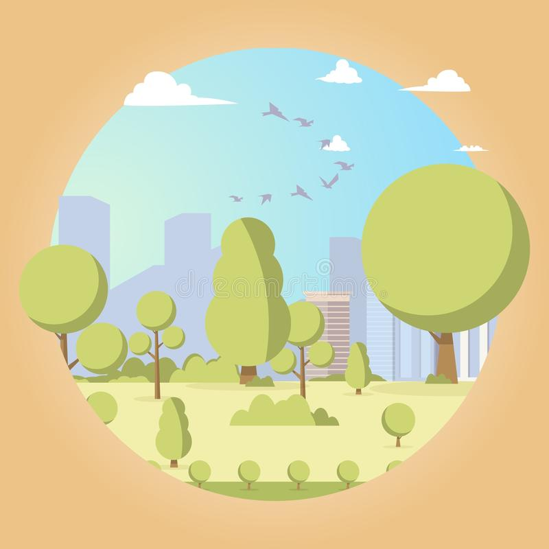 Vector drawing image the picturesque garden trees vector illustration