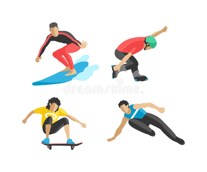 Vector drawing jumping and climbing men extreme athletes silhouettes. royalty free illustration