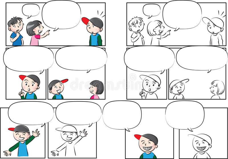 Vector drawing kids talk with speech bubble stock illustration