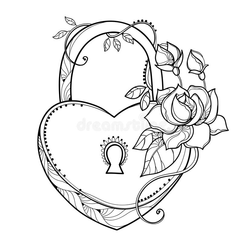 Vector drawing of lock heart with outline ornate roses, leaf and bud in black isolated on white background. Contour heart padlock with flowers for holiday royalty free illustration