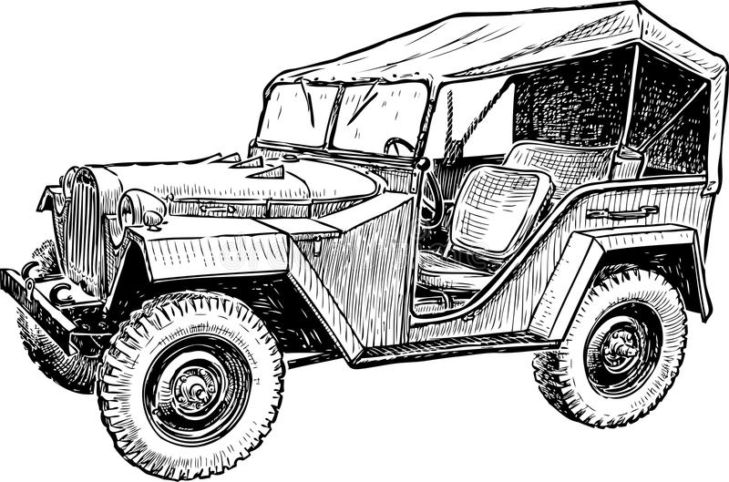 Sketch of the old machine of the 20th century. Vector drawing of an old car of past century vector illustration
