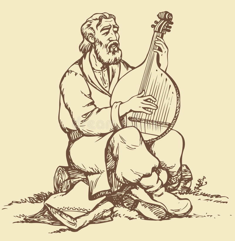 Vector drawing. Old Ukrainian musician plays the b. Vector monochrome image handmade style drawing pen on paper. Old Ukrainian musician with a beard in national vector illustration