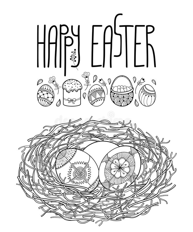 Vector drawing of outline bird nest from branch with ethnic Ukrainian Easter egg Pysanka in black isolated on white background. Traditional greeting symbol in vector illustration