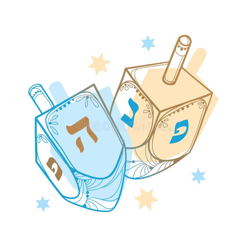 Vector drawing with outline Hanukkah or Hanuka dreidel or sevivon with Hebrew alphabet in blue and pastel beige isolated on white. Vector drawing with outline vector illustration