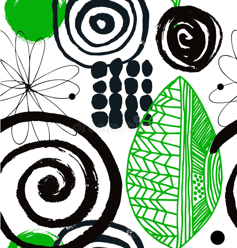 Vector drawing pattern with decorative ink drawn elements. Grunge abstract background. stock illustration