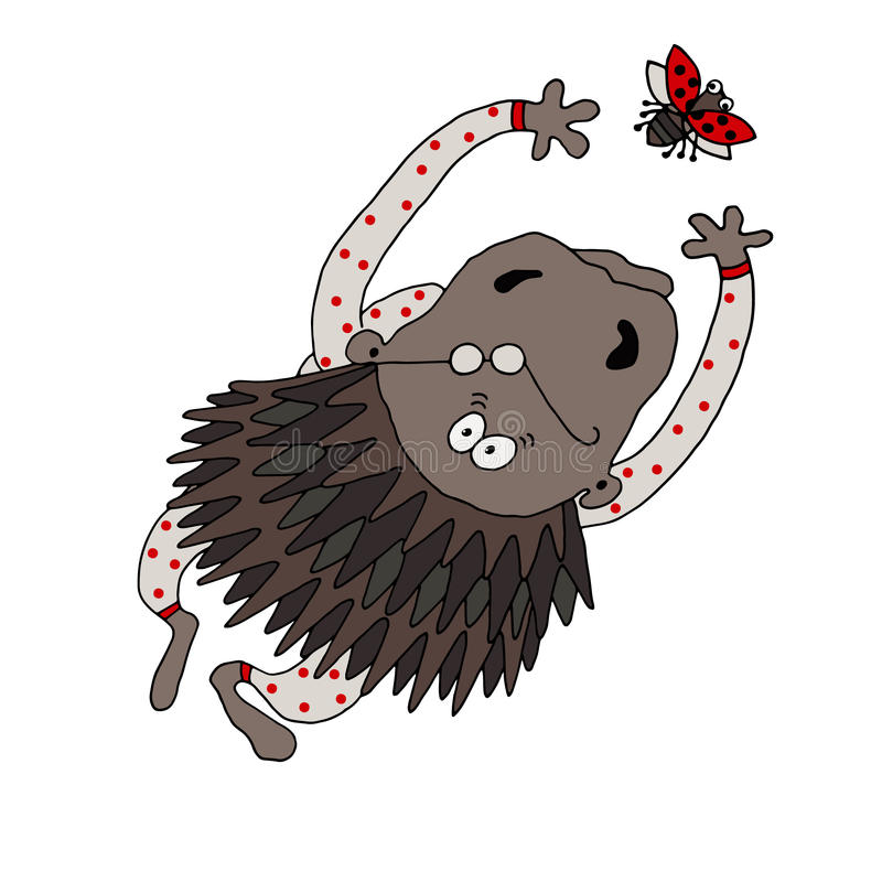 Vector drawing of a porcupine dressed in pajamas with polka dots trying to catch a ladybird. On a white background royalty free illustration