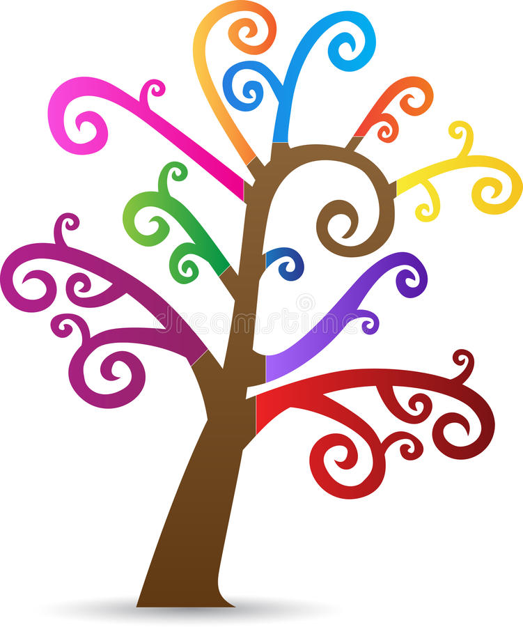 Colorful swirl tree. A vector drawing represents colorful swirl tree design stock illustration