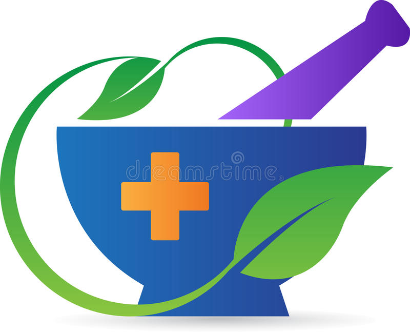 Pharmacy mortar and pestle. A vector drawing represents pharmacy mortar and pestle design