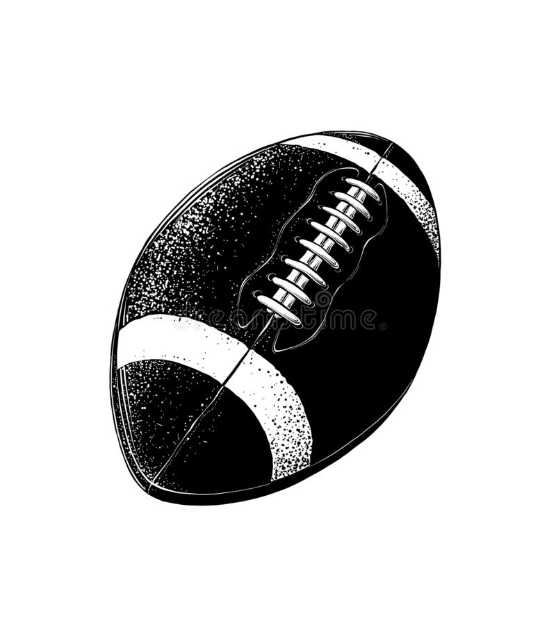 Vector drawing of rugby ball in black color, isolated on white background. Graphic illustration, hand drawing. Drawing. For posters, decoration and print royalty free illustration