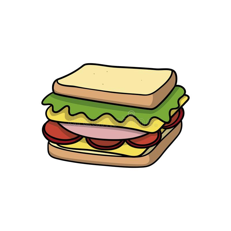 Sandwich. Food icon. Doodle cartoon vector illustration. Vector drawing of sandwich. Icon belonging to collection of icons related to food. Doodle cartoon vector illustration