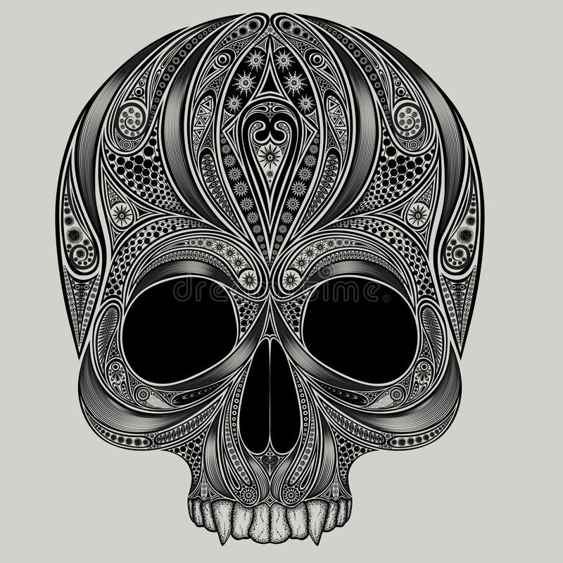Vector drawing of a skull from the patterns stock illustration