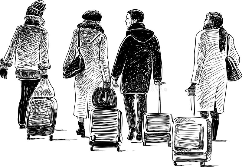 City dwellers go to trip stock illustration