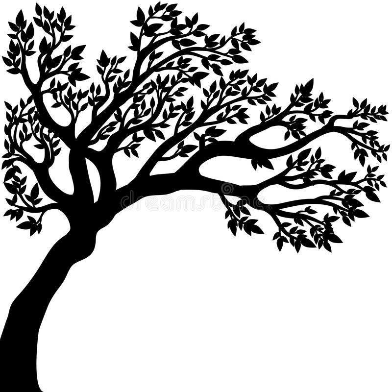 Vector drawing of the tree. Vector illustration of the tree silhouette with leaves